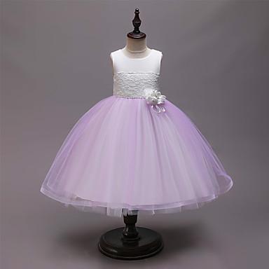 preiswerte Mode für Mädchen-Kinder Mädchen Aktiv Süß Patchwork Patchwork Ärmellos Knielang Kleid Rosa