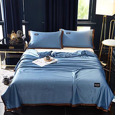 povoljno Krpani popluni i prekrivači-hlađenje prozračna 1pc santin svila pamuk plain tješi / 2pcs jastuci (2 kom jastuci za twin ili single) ljeto čvrste boje