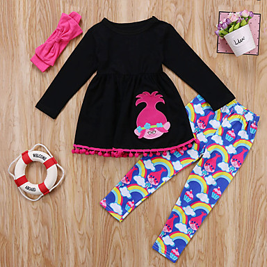 povoljno Novo u ponudi-Djeca Dijete koje je tek prohodalo Djevojčice Aktivan Osnovni Print Dugih rukava Pamuk Spandex Komplet odjeće Fuksija