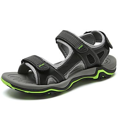 בגדי ריקוד גברים נעלי עור עור נאפה Leather קיץ ספורטיבי / יום יומי סנדלים הליכה / נעלי ספורט מים ללא החלקה שחור / חום בהיר / חום כהה