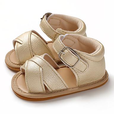 בנים / בנות צעדים ראשונים PU סנדלים תינוקות (0-9m) / פעוט (9m-4ys) שחור / ורוד / חום בהיר קיץ / גומי