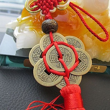 voordelige Auto-interieur accessoires-mode chinese knoop kwast china mascotte lucky charm oude munten hanger auto opknoping accessoires