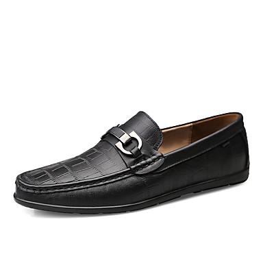 בגדי ריקוד גברים נעלי עור עור נאפה Leather אביב קיץ / סתיו חורף עסקים / יום יומי נעליים ללא שרוכים הליכה ללא החלקה שחור / חום