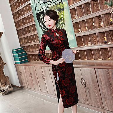 מבוגרים בגדי ריקוד נשים סגנון סיני Cheongsam עבור מסיבה וערב מדים מועדון תערובת כותנה / פוליאסטר ארוך Cheongsam