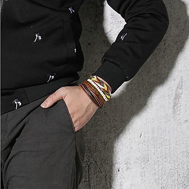 billige Motearmbånd-4stk Herre Perlearmbånd Lær Armbånd Vevet Armband Flettet Veving Statement Punk trendy Rock Fargerik Titanium Stål Armbånd Smykker Brun Til Fest Gave Daglig Karneval Klubb
