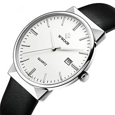 baratos Relógios Homem-WWOOR Homens Relógio Elegante Japanês Quartzo Japonês Couro Legitimo Preta / Azul 30 m Impermeável Novo Design Relógio Casual Analógico Casual Fashion - Branco Azul