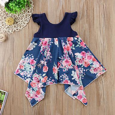 preiswerte Kleider für Mädchen-Kinder Baby Mädchen Blumen Kleid Blau
