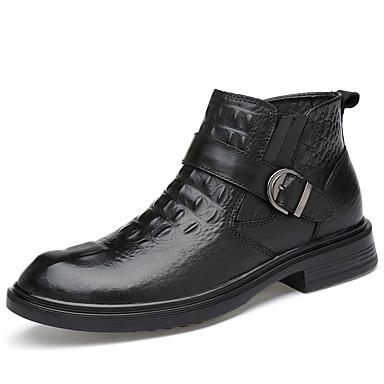 בגדי ריקוד גברים נעלי עור עור נאפה Leather אביב קיץ / סתיו חורף יום יומי / בריטי מגפיים הליכה ללא החלקה מגפונים\מגף קרסול שחור