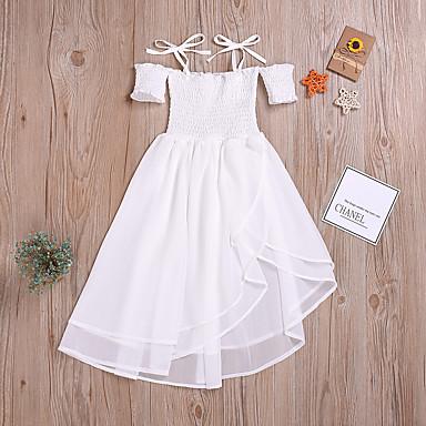 お買い得  女児 ドレス-子供 女の子 かわいいスタイル ストリートファッション ホワイト ソリッド レースアップ ノースリーブ ミディ コットン ドレス ホワイト