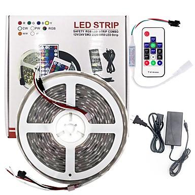 billige LED Strip Lamper-brelong smd5050 5m 300led hylle vanntett lysstang 14 nøkkel infrarød kontroller med 5a strømforsyning svart