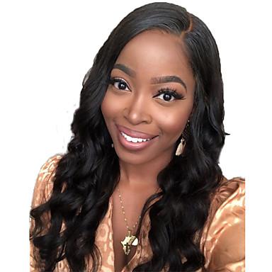 שיער אנושי חזית תחרה פאה חלק חינם בסגנון שיער ברזיאלי גלי שחור פאה 130% צפיפות שיער עם שיער בייבי שיער טבעי לנשים שחורות בתולה100% 100% קשירה ידנית בגדי ריקוד נשים ארוך פיאות תחרה משיער אנושי