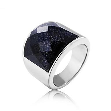 voordelige Heren Ring-Heren 3D Bandring Titanium Staal Kostbaar Vintage Punk Rock Modieuze ringen Sieraden Donkerblauw Voor Dagelijks Werk 8 / 9 / 10