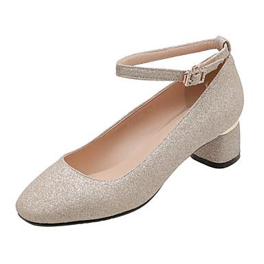 voordelige Dameshakken-Dames Hoge hakken Comfort schoenen Blokhak Vierkante Teen Pailletten PU Klassiek / minimalisme Lente & Herfst Zwart / Zilver / Rood / Bruiloft / Feesten & Uitgaan