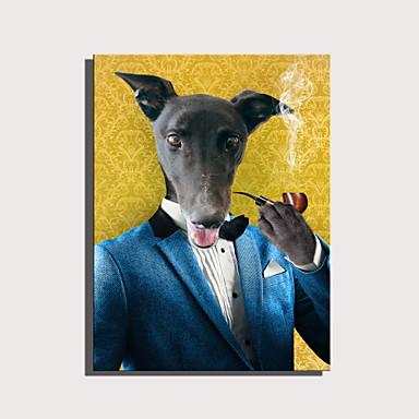 abordables Toiles-e-home toile tendue art série d'animaux mignons - pipe gentleman chien décoration peinture one pcs