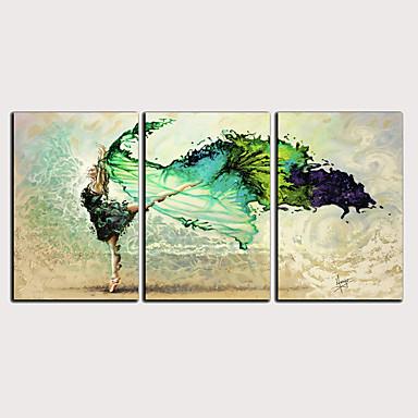 דפוס הדפסי בד מגולגל - מופשט אנשים קלסי מודרני שלושה פנלים הדפסים אמנותיים