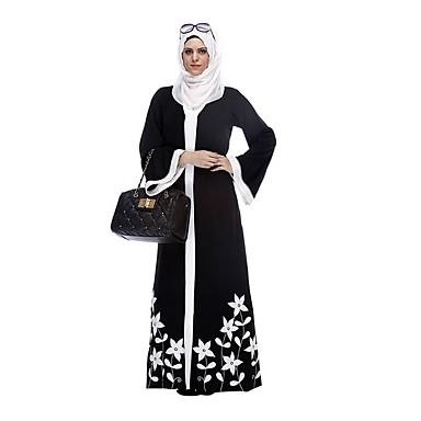 לבוש מסורתי ותרבותי Abaya בגדי ריקוד נשים לבוש יומיומי פוליאסטר דוגמא \ הדפס / מפרק מפוצל עבאיה