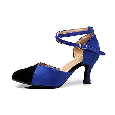 baratos Shall We® Sapatos de Dança-Mulheres Sapatos de Dança Camurça Sapatos de Dança Moderna Recortes Salto Salto Carretel Personalizável Preto / Vermelho / Preto / Azul / Rosa / Preto / Espetáculo / Ensaio / Prática