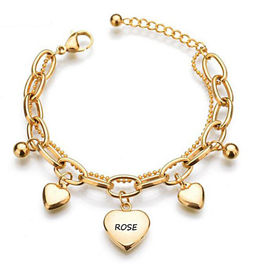 cheap Customized Jewelry-Personalized Classic Bracelet Trendy Romantic Casual / Sporty Stainless Steel Gift Promise Festival Heart Shape 1pcs Gold / Laser Engraving