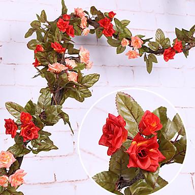 פרחים מלאכותיים 1 ענף קלאסי להתקנה על הקיר מסורתי חתונה ורדים פרחים נצחיים פרחים לקיר