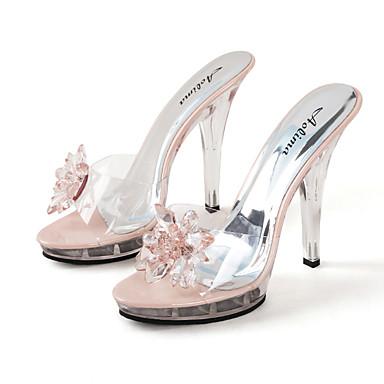 povoljno Ženske cipele-Žene Sandale Party Heels Peep Toe Kristal PVC slatko / minimalizam / Lucite Heel Proljeće & Jesen / Proljeće ljeto Crn / Srebro / Pink