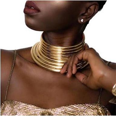 hesapli Moda Kolyeler-Kadın's Tork Geometrik Mutlu inanç Etniczne Reçine Kumaş Plastik Altın Gümüş 40 cm Kolyeler Mücevher 1pc Uyumluluk Günlük Karnaval