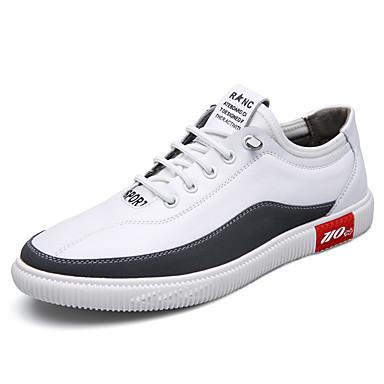 בגדי ריקוד גברים נעלי עור עור אביב קיץ בריטי נעלי ספורט ללבוש הוכחה מגפונים\מגף קרסול לבן / שחור
