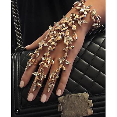 billige Motearmbånd-Dame Multi-farge Ringarmbånd geometriske Flower Shape Statement Stilfull Europeisk Fuskediamant Armbånd Smykker Svart / Gull / Sølv Til Daglig Bryllupsfest