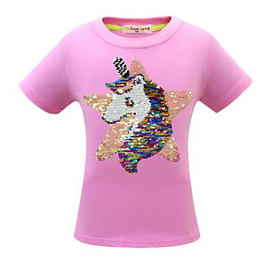 baratos Blusas para Meninas-Infantil Para Meninas Básico Estampado Manga Curta Camiseta Rosa