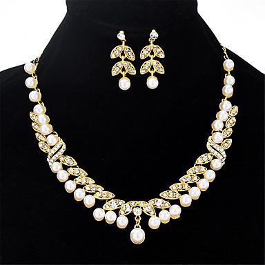 בגדי ריקוד נשים שרשרת עגיל Leaf Shape פאר ארופאי אופנתי אלגנטית דמוי פנינה אבן נוצצת עגילים תכשיטים זהב עבור Party ארוסים מתנה יומי 1set
