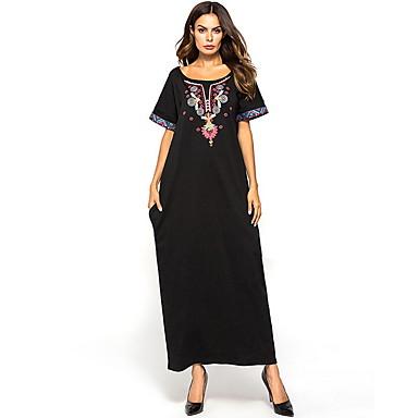 לבוש מסורתי ותרבותי שמלות בגדי ריקוד נשים לבוש יומיומי פוליאסטר ריקמה שרוולים קצרים שמלה
