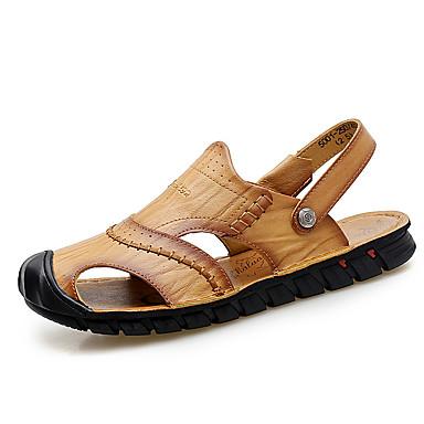 בגדי ריקוד גברים נעלי נוחות עור אביב קיץ יום יומי סנדלים נושם שחור / חום בהיר / בורדו
