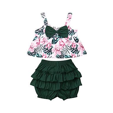 hesapli Bebek Kıyafet Setleri-Bebek Genç Kız Actif / Temel Çiçekli Fiyonklar / Desen Kolsuz Normal Kıyafet Seti Yonca
