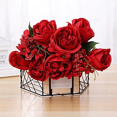 פרחים מלאכותיים 1 ענף קלאסי מסוגנן ורדים פרחים לשולחן