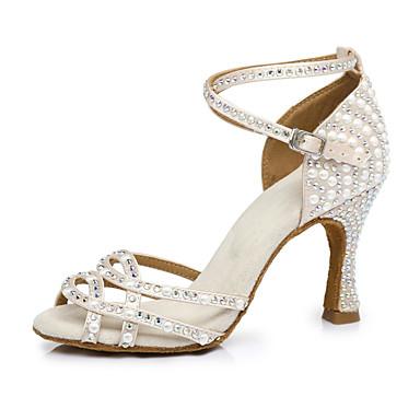 povoljno Novo u ponudi-Žene Saten Cipele za latino plesove Štikle Deblja visoka potpetica Pink And White / Seksi blagdanski kostimi / Vježbanje