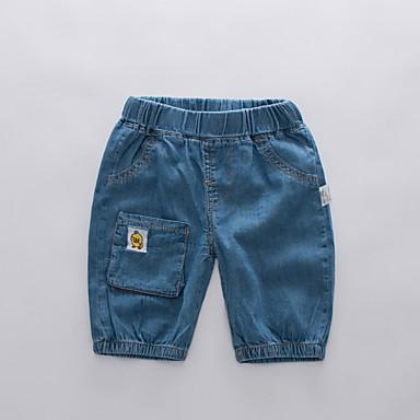 baratos Jeans Para Meninos-Infantil Para Meninos Básico Moda de Rua Retalhos Bordado Algodão Jeans Azul