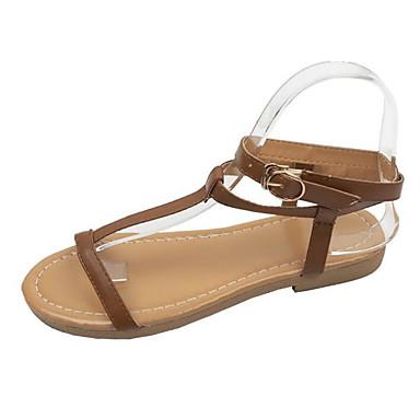 povoljno Ženske sandale-Žene PU Ljeto Sandale Ravna potpetica Vojska Green / Svjetlosmeđ / Leopard
