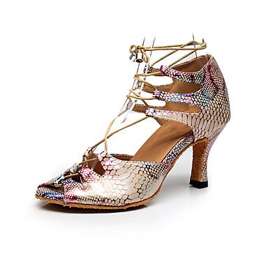 baratos Shall We® Sapatos de Dança-Mulheres Couro Sintético Sapatos de Dança Latina Poa Salto Salto Carretel Personalizável Arco-íris