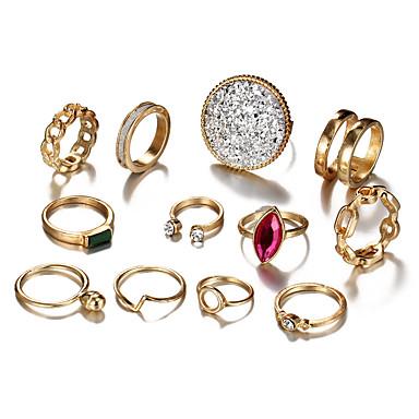 בגדי ריקוד נשים טבעת הגדר זירקונה מעוקבת 12pcs זהב סגסוגת מעגלי ארופאי חתונה תכשיטים חמוד