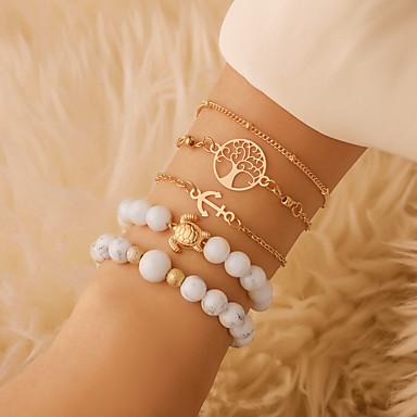 abordables Bracelet-5pcs Bracelet à Perles Bracelets Vintage Boucles d'oreilles / Bracelet Femme Multirang Arbre de la vie Tortue Ancre simple Classique Rétro Vintage Ethnique Mode Bracelet Bijoux Dorée pour Quotidien