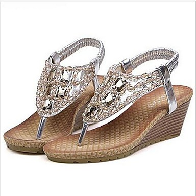 povoljno Novo u ponudi-Žene Sintetika Ljeto Sandale Wedge Heel Zlato / Pink / Kava