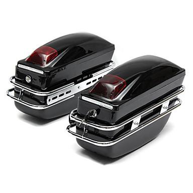 voordelige Auto-interieur accessoires-2 stks cruiser motorfiets kofferbak w / lichten toetsen harde zadeltassen koffers waterdicht