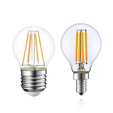 billige Elpærer-1pc 4 W LED-glødepærer 380 lm E14 E12 E26 / E27 G45 4 LED perler COB Mulighet for demping Varm hvit 220-240 V 110-130 V / 1 stk. / RoHs / LVD