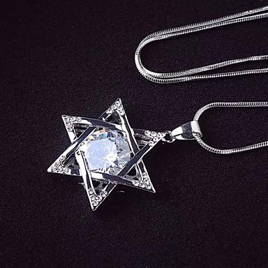 billige Mote Halskjede-Dame Kubisk Zirkonium Anheng Halskjede Stjerne Mote Chrome Sølv 45+5 cm Halskjeder Smykker 1pc Til Daglig