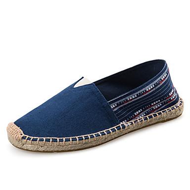 Kadın's Mokasen & Bağcıksız Ayakkabılar Düz Taban Yuvarlak Uçlu Kanvas Vintage İlkbahar yaz Mavi