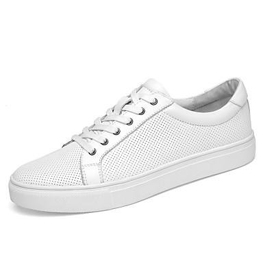 בגדי ריקוד גברים נעלי עור עור נאפה Leather קיץ ספורטיבי / יום יומי נעלי ספורט הליכה ללא החלקה לבן / שחור