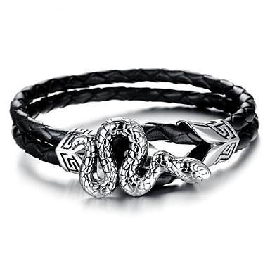 voordelige Herensieraden-Heren Lederen armbanden Klassiek Dier Gelukkig Punk Leder Armband sieraden Zilver / Zwart Voor Feest Dagelijks