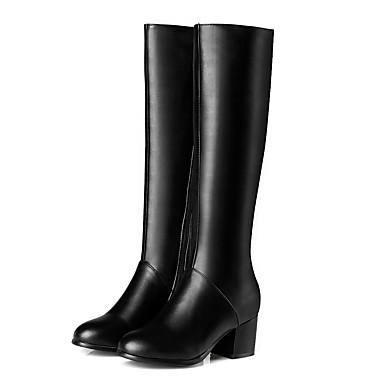 Kadın's Çizmeler Kalın Topuk Yuvarlak Uçlu PU Diz Boyu Çizmeler İş / İngiliz Sonbahar Kış Siyah / Bej / Parti ve Gece