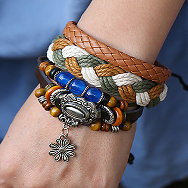 abordables Bracelet-3pcs Bracelets Vintage Boucles d'oreilles / Bracelet Loom Bracelet Homme Femme Multirang En bois Tissage Flower Shape Classique Rétro Vintage Ethnique Mode Bohème Bracelet Bijoux Marron pour