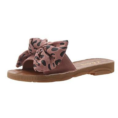 voordelige Damespantoffels & slippers-Dames Slippers & Flip-Flops Platte hak Strik Katoen Zomer Beige / Bruin / Roze