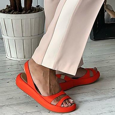 povoljno Ženske cipele-Žene Sandale Šalovi s ravnim peta Creepersice Otvoreno toe Eko koža Ležerne prilike Ljeto Obala / žuta / Bijela